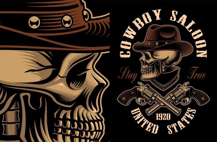 Vector Illustration des Cowboyschädels mit gekreuzten Pistolen.