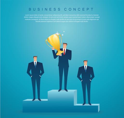Geschäftsmann halten den erfolgreichen Sieger der Goldtrophäe. Unternehmenskonzept vektor