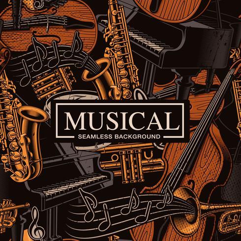Musikalisk sömlös bakgrund med olika musikinstrument vektor