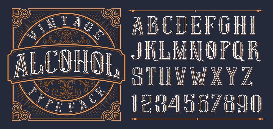 Vintage dekorative Schriftart. vektor