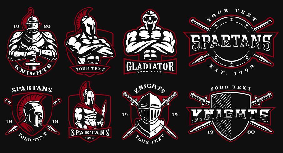Set Abzeichen mit alten Kriegern vektor