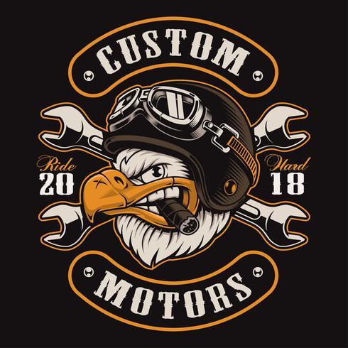 Eagle biker t-shirt design (färgversion) vektor
