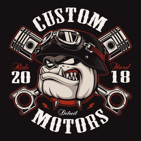 Biker Bulldog biker t-shirt design (färgversion) vektor