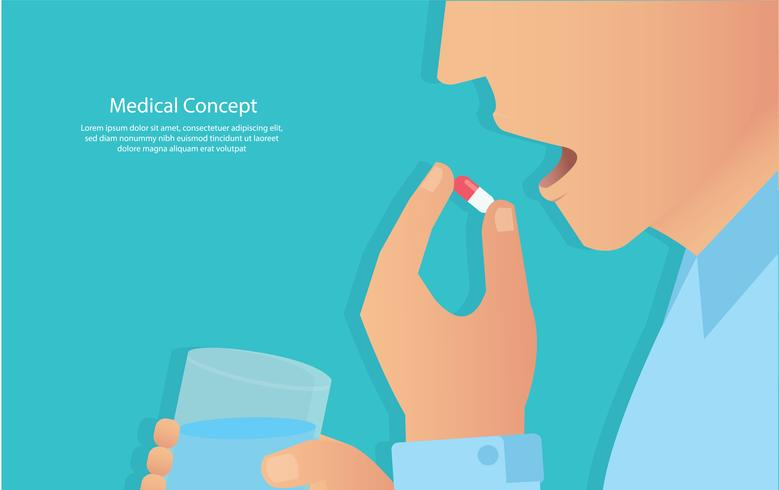 Einnahme der Pillen-Konzept der medizinischen vektor