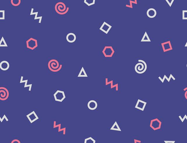 Abstraktes geometrisches Formgekritzelmuster auf blauem Hintergrund - Vector Illustration