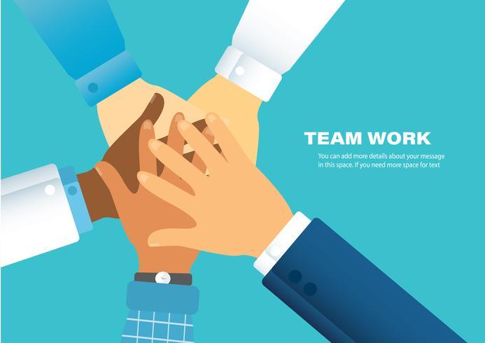 Leute, die ihre Hände zusammenlegen. Freiwillige vektor