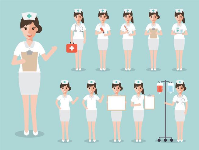 Set av ung sjuksköterska, medicinsk personal. vektor