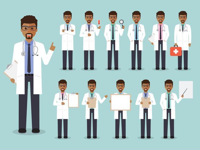 Set av afrikansk läkare, medicinsk personal. vektor