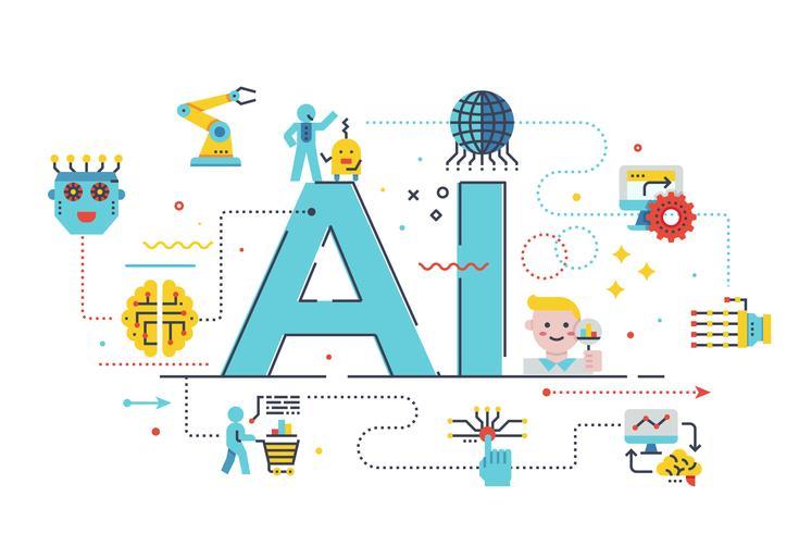 AI (künstliche Intelligenz) Konzeptillustration vektor