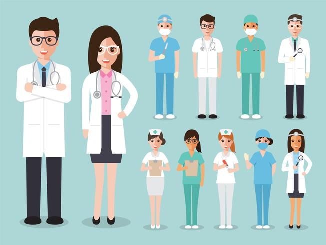 Grupp av läkare och sjuksköterskor och medicinsk personal. vektor