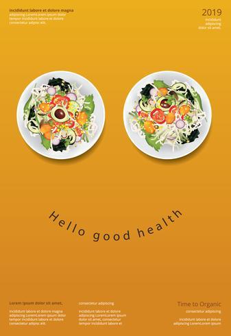 Vegetabilisk sallad Organisk mat affischdesign mall vektor illustration