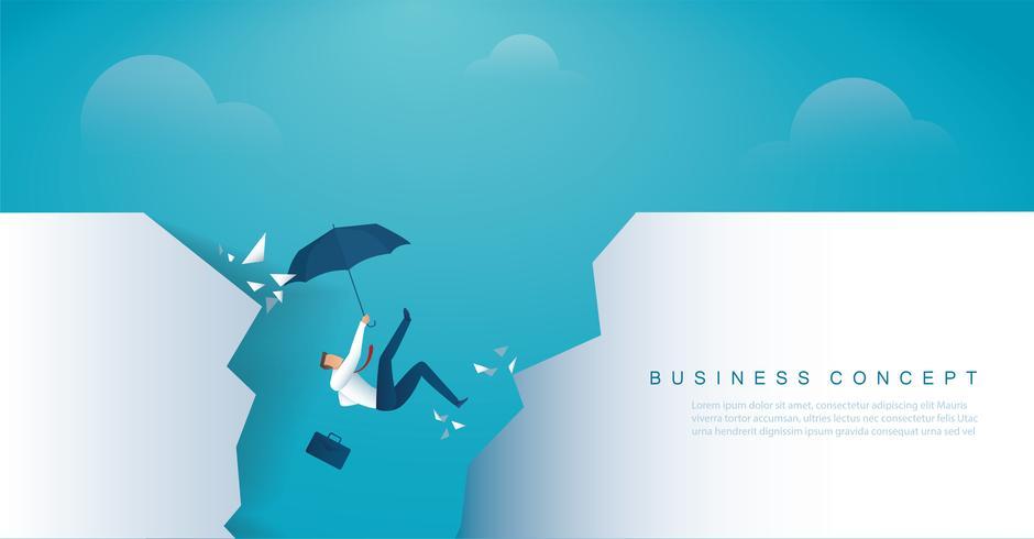 Geschäftsmann fällt in die Abgrundkrise Konkurs. vektor