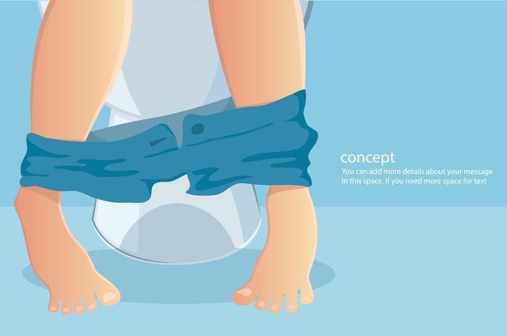 Person, die auf Toilette mit dem Leiden unter Verstopfung oder Durchfallvektorillustration sitzt vektor