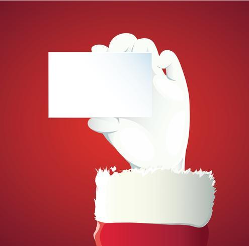 Weihnachtsmann-Hand, die Ihren Weihnachtstext oder -produkt über rotem Hintergrund mit Kopienraum darstellt vektor