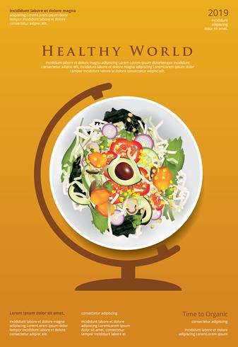 Gemüsesalat-biologisches Lebensmittel-Plakat-Design-Schablonen-Vektor-Illustration vektor