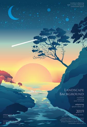 Seascape Poster Bakgrund Grafisk Design Vektor Illustration