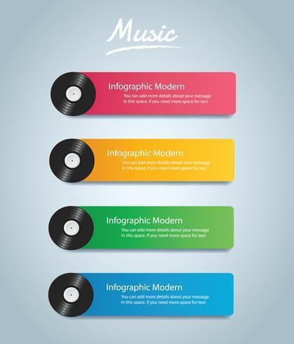 vinyl rekord med täckmockup infographic bakgrund vektor