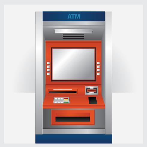 ATM-Geldautomat mit ATM-Karten-Vektor-Illustration vektor