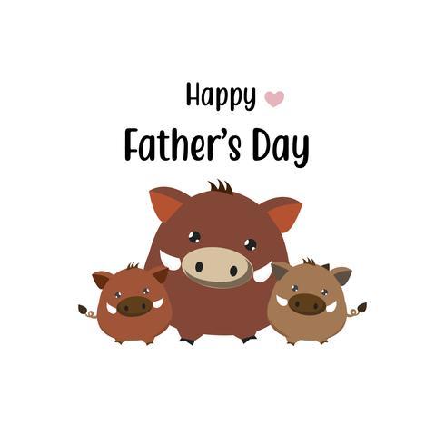 Glückliche Vatertagskarte. Netter Ebervati und sein Baby. vektor