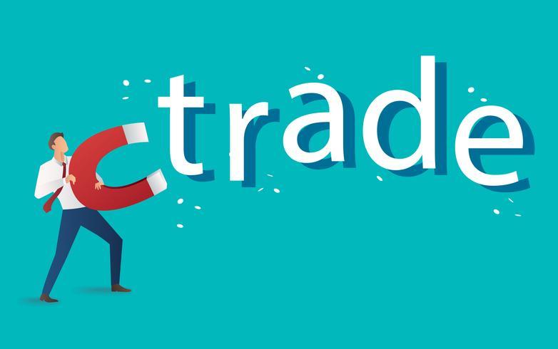 affärsidé. affärsman lockar handel text med en stor magnet vektor illustration