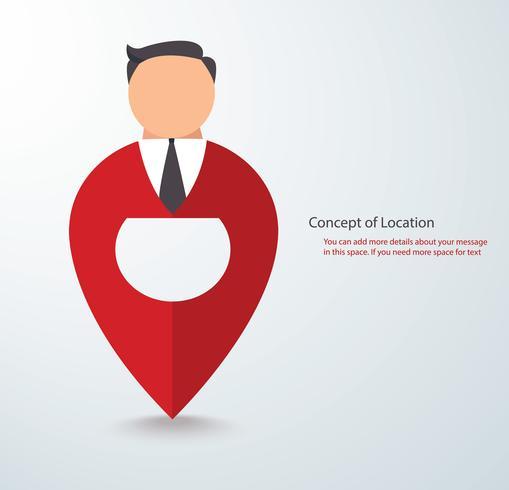 tecknad tecken ikon av människor på stift ikon plats symbol logo vektor eps illustration