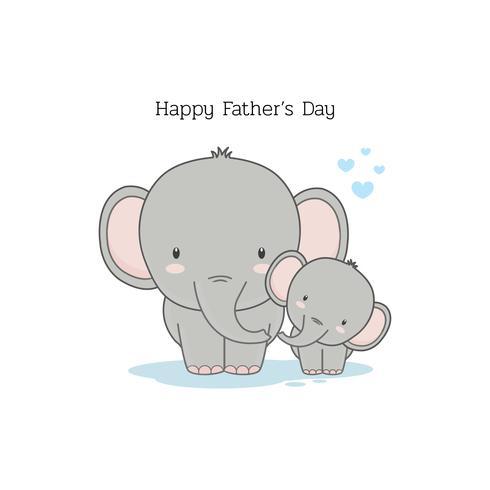 Vatertagskarte mit Elefantzeichentrickfilm-figuren. vektor