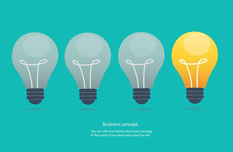 kreatives Ideenkonzept, Glühlampeikonen-Vektorillustration vektor