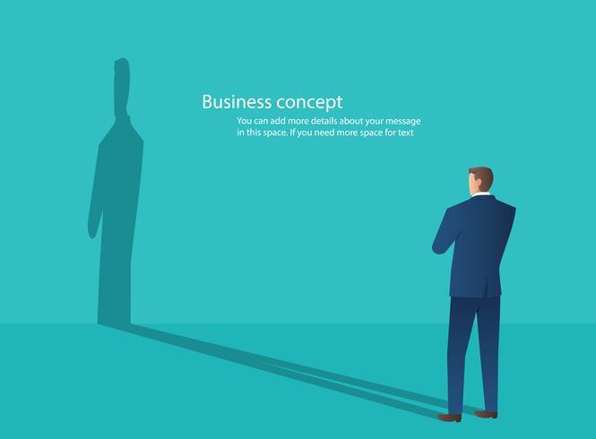 Affärsman står med blå vägg bakgrund, kreativt tänkande koncept vektor illustration
