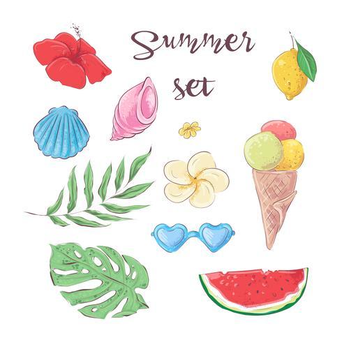 Sats av tropiska frukter. Vektor illustration Hand ritning