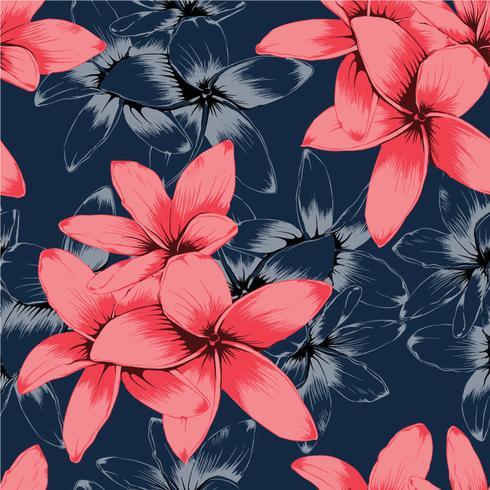 Seamless mönster rosa pastell Frangipani blommor på mörkblå background.Drawing line art.Vector illustration vektor