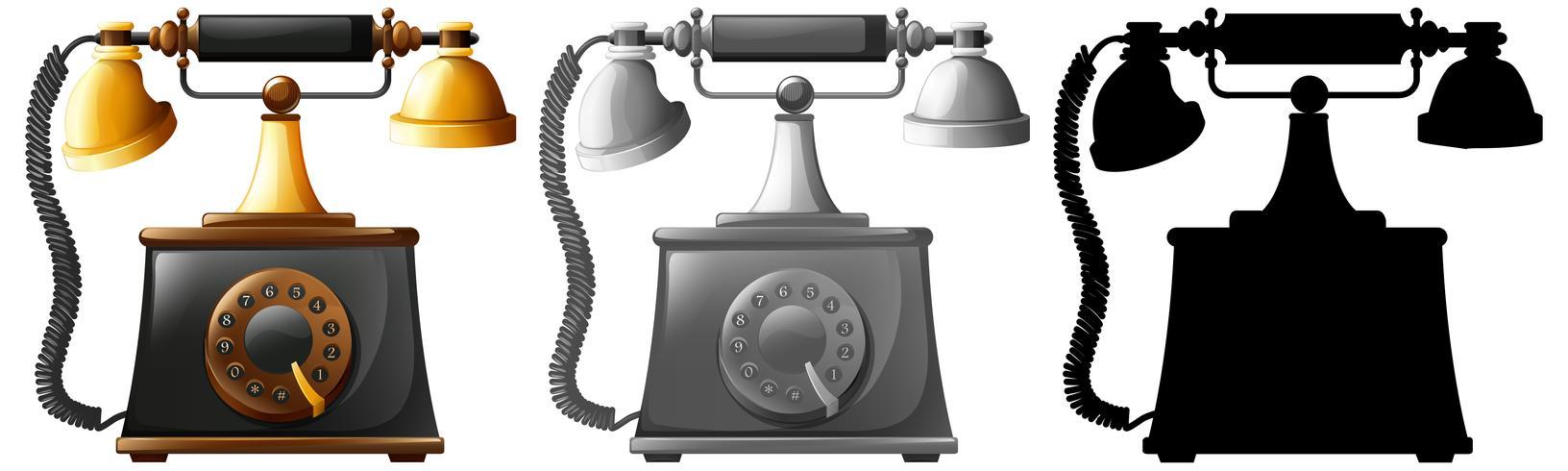 Sats med gammaldags telefoner vektor