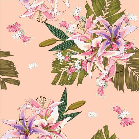 Nahtloses Muster Lilly, wilde Blumen, grüne Palmblätter auf rosa Pastellhintergrund Vektorillustrations-Handzeichnung Für benutztes Tapetendesign Textilgewebe oder Packpapier vektor