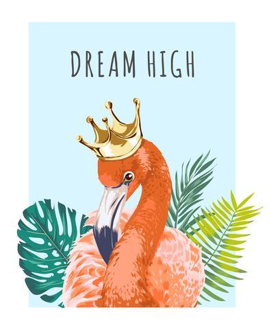 Flamingo in der Krone mit Slogan vektor