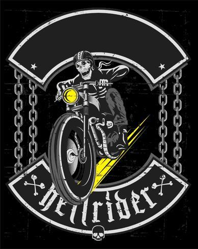 Hand ritning av skalle ridning vintage motorcykel - Vector