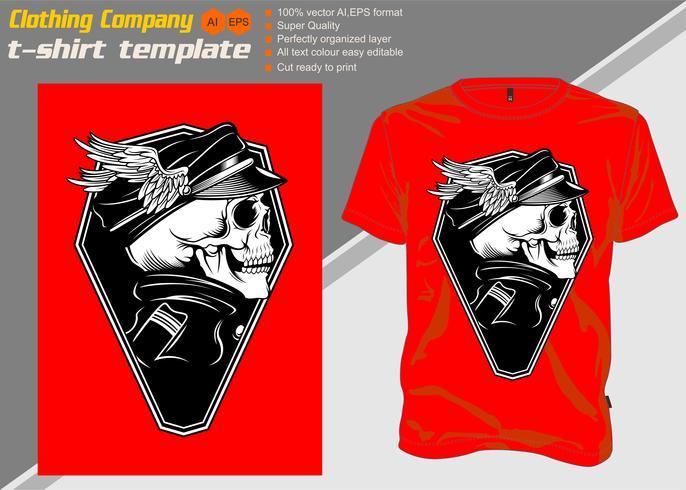 t-shirt mall med skalle kapten, handteckning vektor