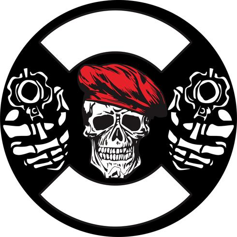 Schädel Armee mit Pistole Vektor Handzeichnung