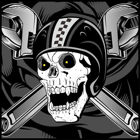 vintage biker skull emblem vektor