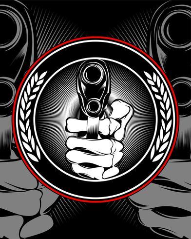 Schädelhand, die einen Gewehrvektor hält. vektor
