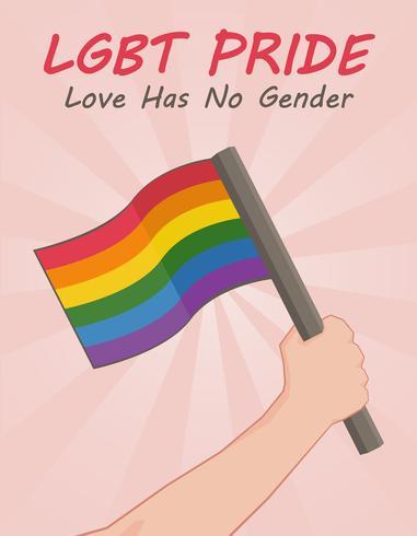 LGBT-Stolzhintergrund mit der Hand, die eine Flagge hält vektor