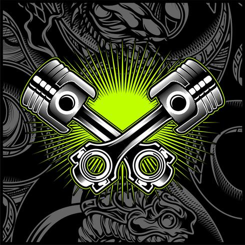 Cross Motorcycle Piston Svartvitt Emblem, Logos, Badge - Vector