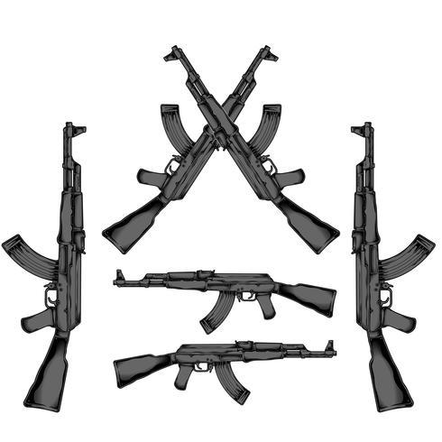 AK 47 Handzeichnungsvektor vektor