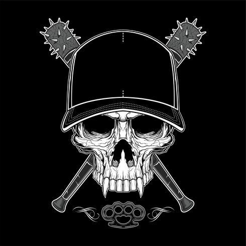 Vintage bandit skalle i hipster mössa och skelett händer som håller korsade baseboll fladdermus isolerade vektor illustration