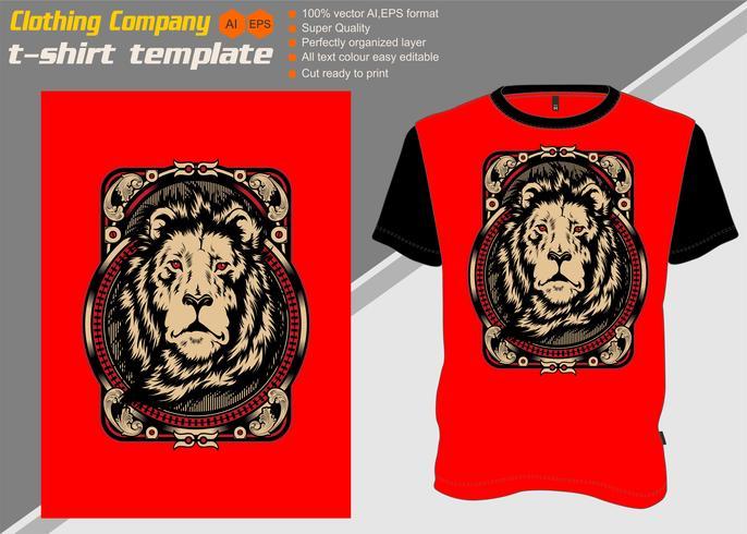 T-Shirt Schablone mit Löwe, Handzeichnungsvektor vektor