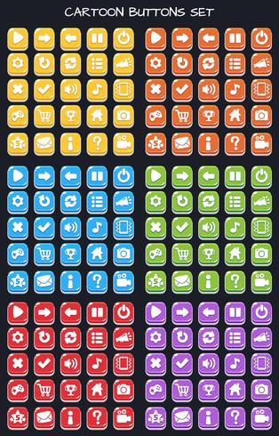 Cartoon-knappsats spelpaket, GUI-element för mobilspel vektor