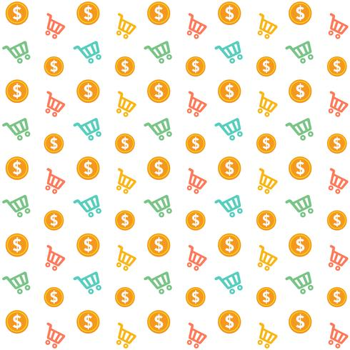 Vektor-nahtloser Warenkorb mit Goldmünzen-Art-Muster vektor