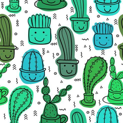 Netter nahtloser Kaktusmusterhintergrund. Vektorillustrationen für Geschenkverpackungsdesign. vektor