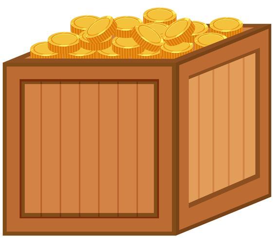 En låda med guldmynt vektor