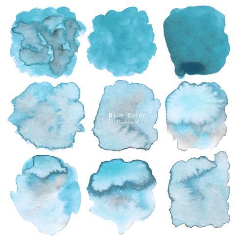 Blå abstrakt vattenfärg bakgrund. Akvarell element för kort. Vektor illustration.