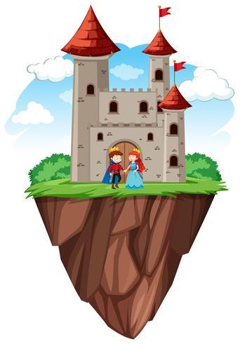 Prins och prinsessa på slottet vektor