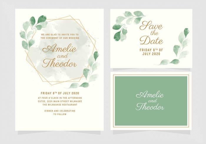 Vektor Eucalyptus Bröllop Inbjudan